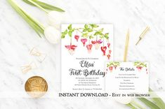 Printable Flower Birthday Party Invitation Template Floral