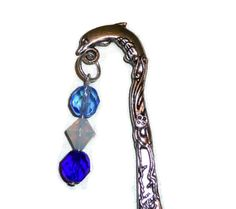 Silver Dolphin Bookmark with Dangles of Light and Cobalt Blue Glass Beads & Sea Opal Glass Bead. Ocean Themed Metal Book Mark, So Affordabl