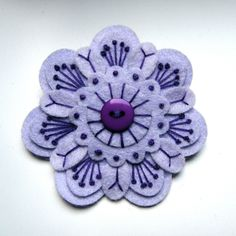 SALE PEONY felt brooch pin with freeform by designedbyjane