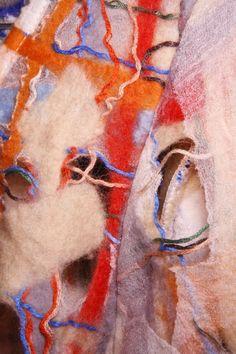 Repurposed felt textiles by Fernanda Yamamoto. Textile Texture, Textile Art, Fernanda Yamamoto, Creative Textiles, Body Adornment, Material Girls, Needle Felting, Fiber Art, Weaving