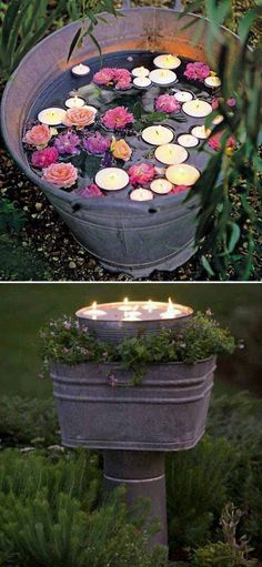 Tea lights and faux flowers in a rustic bucket is the perfect ambient addition to outdoor parties! - summer parties - outdoor DIY #diyhomedecor