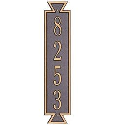 Exeter Vertical Home Address Plaque by Whitehall. $58.99. Whitehall Address Plaque Features. Constructed with rust-free recycled aluminum materials in the USA.. Exeter vertical design features bold straight lines and angles.. Standard one-line design can hold up to five 3 inch numbers or up to seven 1 3/4 inch characters.. Click to view samples of the available Plaque Color Combinations .. The Exeter Vertical Wall Address Plaque gives a home or business a stylish and distinguish...