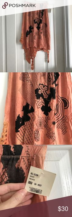 NWT this is religion skirt sz small New with tags this is religion skirt. Size small. Pale orange black and metallic silver. Crochet design on the bottom. this is religion Skirts Asymmetrical