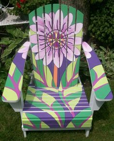 Painted Furniture •~• floral adirondack chair