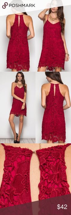 ❤️JUST IN❤️ Floral Lace Sexy Event Red Tank Dress Super sexy sleeveless maroon floral lace crochet dress. Look hot this fall! Perfect for outings, date nights, weddings, etc! S M L. 70% cotton, 30% poly. Lined. Dresses Mini