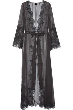 Lace-appliquéd silk-mousseline robe by Carine Gilson a la Irene Adler in Scandal in Belgravia