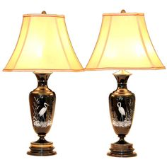 Pair Antique Aesthetic Enamelled Black Glass Lamps   From a unique collection of antique and modern table lamps at https://www.1stdibs.com/furniture/lighting/table-lamps/