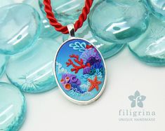 CORAL REEF starfish pendant silver tone bezel polymer by Filigrina
