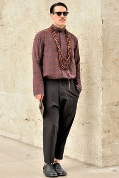 The Australian singer Sam Sparro wears a look from DAMIR DOMA Men's Autumn Winter 2012-13 at Paris Fashion Week.