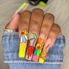 So Nails, Drip Nails, Edgy Nails, Bling Acrylic Nails, Funky Nails, Best Acrylic Nails, Hair And Nails, Nail Design Stiletto, Nail Design Glitter