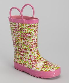 Loving this Pink & Green Mini Floral Rain Boot on #zulily! #zulilyfinds