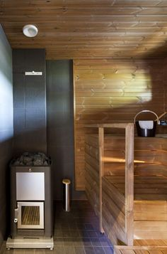 sauna Modern Saunas, Water Plumbing, Sauna Heater, Finnish Sauna, Sauna Room, Spa Rooms, Steam Room, Decks And Porches, Home Spa