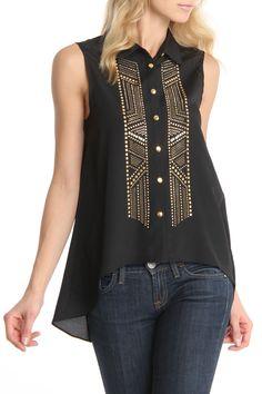 Black Embellished Sleeveless Top