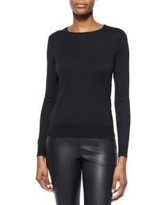 W04X9 Ralph Lauren Black Label Cashmere-Blend Knit Crewneck Sweater
