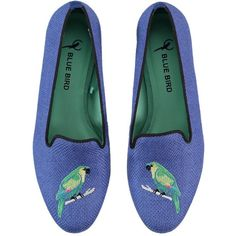 BLUE BIRD Parrot Embroidered Linen Loafers (£82) ❤ liked on Polyvore featuring shoes, loafers, flats, footwear, blue, loafer shoes, embroidered loafers, leather sole shoes, flat pumps and blue flats
