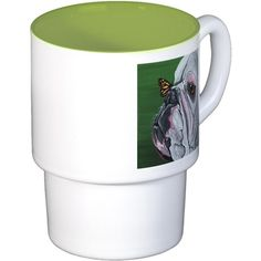 English Bulldog and Butterfly Coffee Cups on CafePress.com