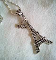 Tibetan Silver Eiffel Tower Love Pendant Necklace Free Shipping by PersnicketyPatty on Etsy