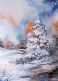 Original Watercolor Painting  Winter Landscape  by CanotStop