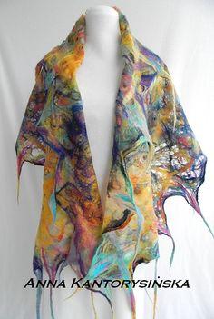 felted scarf shawl AQUALILA handmade art to wear by kantorysinska, $124.00