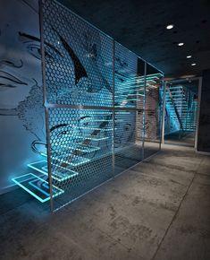 Nightclub design - Apartment dj`a on Behance Gym Interior, Futuristic Interior, Spaceship Interior, Gym Design, Retail Design, Nightclub Design, Plakat Design, Gym Decor, Staircase Design