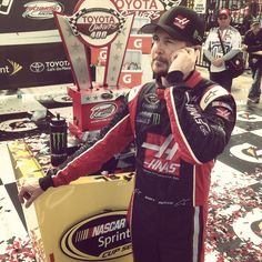 Kurt Busch on the phone with Gene Haas, founder of Haas Automation and co-owner of Stewart-Haas Racing. #NASCAR