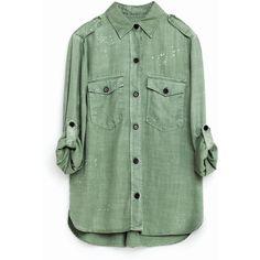 MILITÆRSKJORTE ($66) ❤ liked on Polyvore featuring tops, shirts, military shirts, shirt tops, military green shirt, green top and military style shirts