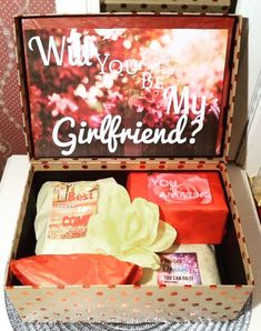 Will You Be My Girlfriend Box Custom You Are Beautiful Box. Asking A Girl Out, Asking Someone Out, Diy Gifts For Friends, Guy Friends, Cute Couples Goals, Couples In Love, Girlfriend Proposal, Girlfriend Gift, Cute Proposal Ideas