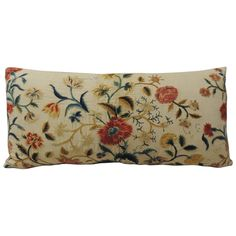 19th Century Embroidery Floral Linen Bolster Pillow | From a unique collection of antique and modern pillows and throws at https://www.1stdibs.com/furniture/more-furniture-collectibles/pillows-throws/