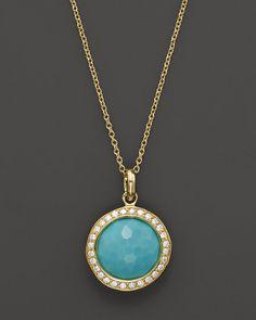 Ippolita Gold Rock Candy Lollipop Diamond Turquoise Pendant Necklace vbNVU6PtW