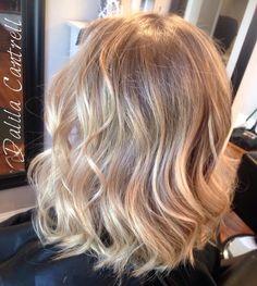 Custom dark blonde to light blonde balayage by stylist Dalila Cantrell