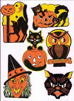 Halloween cut outs - these we're sold at the Woolworth 5 & Dime Stores in the I still have a set from my childhood. Retro Halloween, Vintage Halloween Images, Vintage Halloween Decorations, Halloween Prints, Halloween Pictures, Vintage Holiday, Halloween Outfits, Holidays Halloween, Happy Halloween
