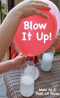 How to fill balloons without having to blow into them: Baking soda + vinegar!