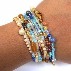 Crochet wrap bracelet or necklace beaded aqua by CoffyCrochet, $28.00