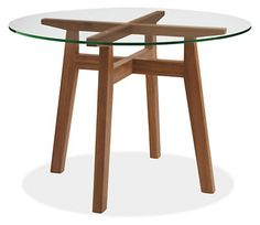"""Cale 42r Dining Table in Walnut with Clear Glass Top - Tables - Dining - Room & Board - 36"""" or 42"""""""