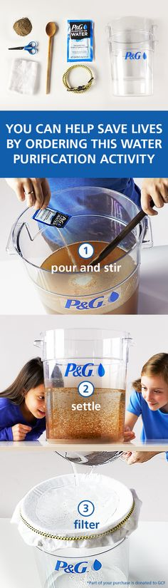 Try this water purification process at home with your kids and watch dirty water transform to clean water within minutes. Plus, teach your family about science, the Power of Clean Water, and giving ba(Try Asking Life) Science Classroom, Teaching Science, Science Activities, Teaching Tools, Science Experiments, Activities For Kids, Science Fair, Science Lessons, Science For Kids