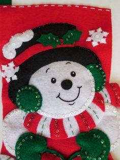 Finished 15 Christmas Stockinhg Snoman Melt Your Heart Xmas, Christmas Tree, Christmas Ornaments, Christmas Stockings, Santa, Decorations, Quilts, Holiday Decor, Heart