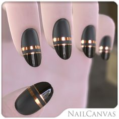 Copper striping over matte and shiny black. #nails #nailcanvas