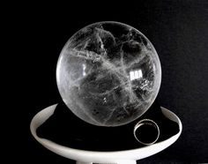"""$248.00***CLEAR QUARTZ SPIDER WEB SPHERE:  Outstanding clarity with highly unique """"spider web"""" inclusions Crystal Gifts, Clear Quartz, Spider, Minerals, Art Pieces, Crystals, Unique, Clarity, Rock"""