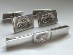 Georg JENSEN Sterling Cufflink & TIE Clip Clasp Set Vintage Deco DENMARK Danish Scandinavian by jewelryannie on Etsy