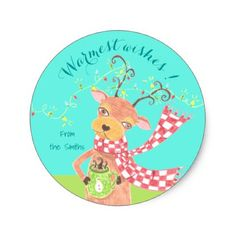 Warmest wishes - reindeer personalized  stickers - Xmas ChristmasEve Christmas Eve Christmas merry xmas family kids gifts holidays Santa
