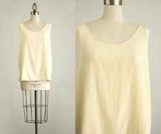 90s Vintage Cream Silk Tunic Tank Top / Size Large by decades