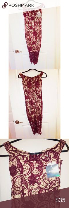 Miss guided dress Burgundy Misguided lace crochet dress Missguided Dresses