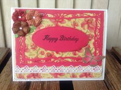 Happy Birthday Red Flowers Red and Gold Butterfly by CountryShades