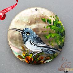 HAND PAINTED BIRD NATURAL MOP MOTHER OF PEARL SHELL NECKLACE PENDANT ZL3005830 #ZL #PENDANT