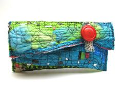 Upcycled Clutch Bag Island Colors Aqua Blue turquoise and Lime Green Skinny Purse Orange Accent Featured in spring issue of Haute Handbags Fused Plastic, Recycled Plastic Bags, Quilted Bag, Little Bag, Fabric Art, Handmade Bags, Fabric Scraps, Purses And Handbags, Clutch Bag