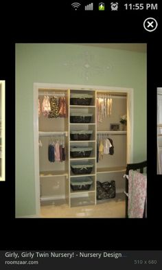 Organized closet---good idea!      summer stuff on 1 side/winter on other side.      shelves for jeans/pants or for baskets to hold socks, undies, etc