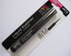 NYC Liquid Eyeliner. Brush applicator for sharper lines, and the formula gives you a rich color. My favorite!