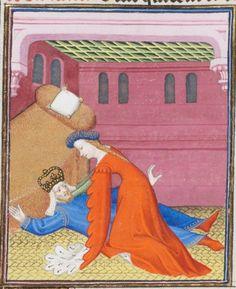 15th century (ca.1410) France (Paris) Ms. fr. 190/2, Bibliothèque de Genève, Genève Giovanni Boccaccio: Des cas des nobles hommes et femmes fol.105v Emperor Commodus being strangled by his mistress, Marcia.