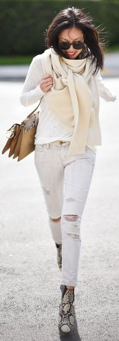 Cream Knit Scarf Fall Inspo by 9to5 Chic