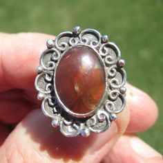 Sterling Silver Fire Agate Ring  Size 8 1/2  by Ollieburger, $32.00